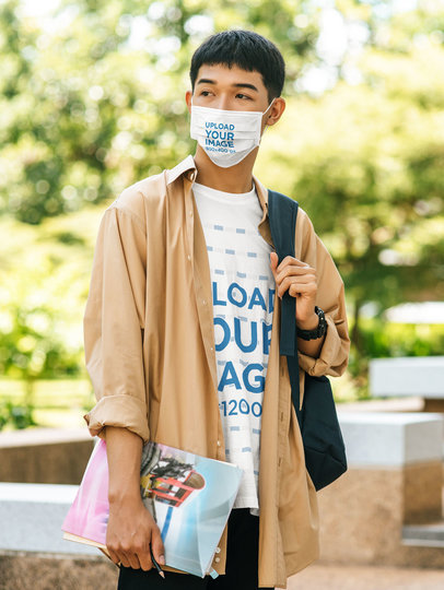 T-Shirt Mockup Featuring a Young Student Wearing a Sublimated Face Mask m4752-r-el2