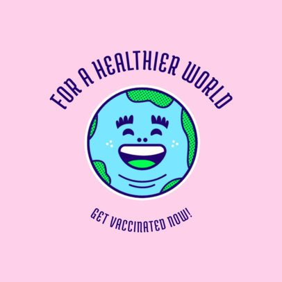 T-Shirt Design Template for COVID-19 Vaccination Campaigns Featuring a Happy Earth Graphic 4282e
