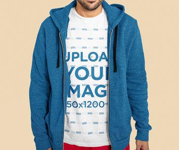 Closeup T-Shirt Mockup of a Bearded Man at a Studio 44347r-el2