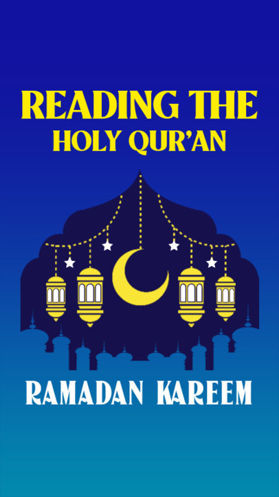 Instagram Story Maker for Ramadan Featuring a Crescent Moon Clipart 3614e