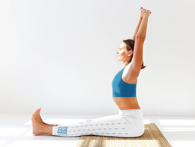 Side Leggings Mockup Featuring a Woman in a Seated Yoga Pose m4084-r-el2