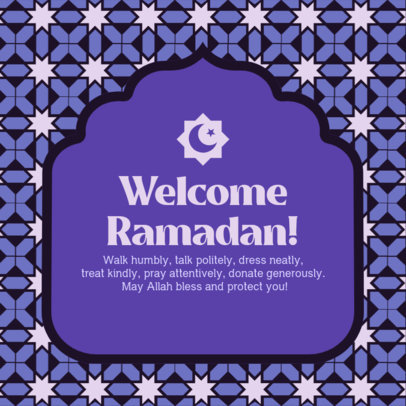 Instagram Post Maker with an Illustrated Pattern for a Ramadan Greeting 3611e