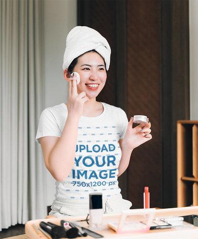 T-Shirt Mockup of a Happy Woman Doing Her Makeup 39741-r-el2