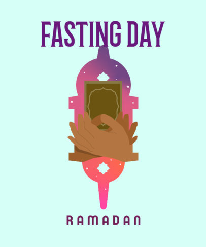 T-Shirt Design Template with a Fasting Illustration for Ramadan 3616a