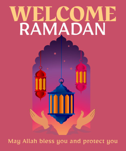T-Shirt Design Creator with Illustrated Ramadan Lanterns 3616b