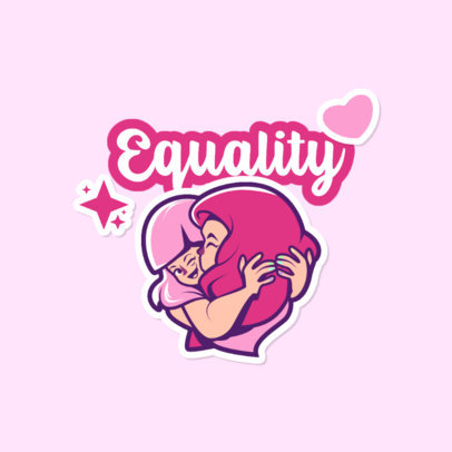 LGBT-Themed Twitch Emote Logo Template With an Equality Message 4284g