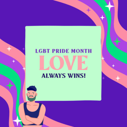 Instagram Post Design Template Featuring an LGBT Character and a Quote 3609f