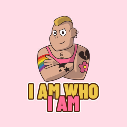 Cartoonish Twitch Emote Logo Maker Featuring an LGBTQ Man 4290l