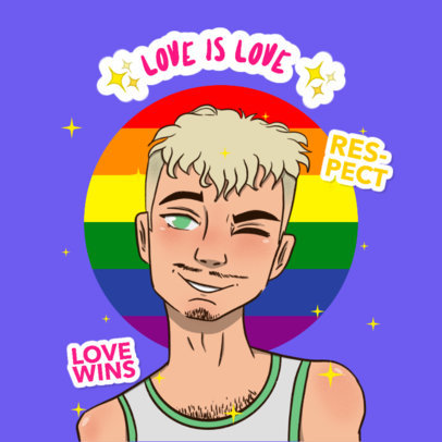 Twitch Emote Logo Generator Featuring an Illustrated LGBT Character 4286q
