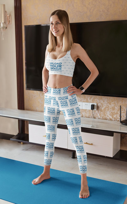 Leggings and Sports Bra Mockup of a Woman in a Standing Pose m5165-r-el2