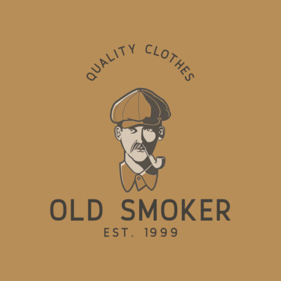 Clothing Brand Logo Template Featuring a Vintage Illustration of a Man with a Pipe 3051a-el1