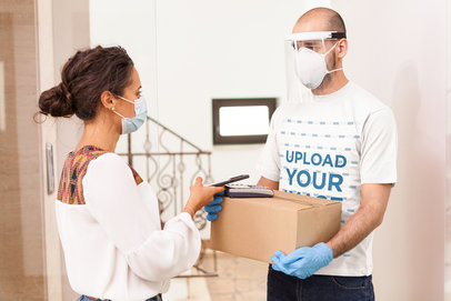 T-Shirt Mockup Featuring a Delivery Man Holding a Box 39566-r-el2