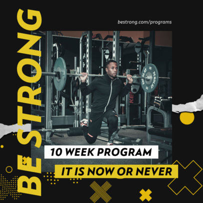 Fitness-Themed Instagram Post Design Template Featuring Bold Graphics 3635