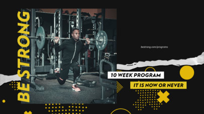 Fitness-Themed YouTube Thumbnail Design Template Featuring Bold Graphics 3635