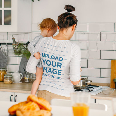 Long Sleeve Tee Mockup of a Mom Cooking While Holding Her Baby 40757-r-el2