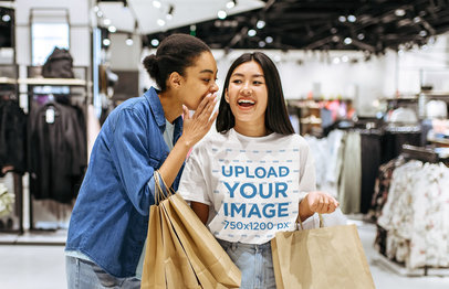 T-Shirt Mockup of a Woman Shopping With a Friend 44395-r-el2