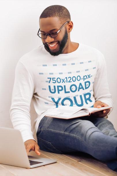 Long Sleeve Tee Mockup of a Bearded Man Using His Laptop 44957-r-el2