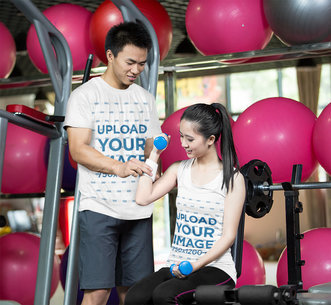 Tank Top and T-Shirt Mockup of a Woman and Her Personal Trainer 42207-r-el2