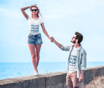 T-Shirt Mockup Featuring a Joyful Couple Walking by the Beach 44932-r-el2