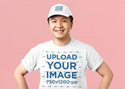Studio Mockup of a Happy Young Man Wearing a T-Shirt and a Dad Hat 42578-r-el2