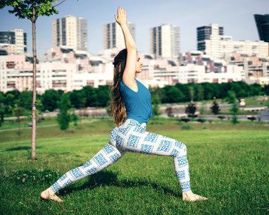 Leggings Mockups Featuring a Woman Doing Yoga at a Park m3951-r-el2