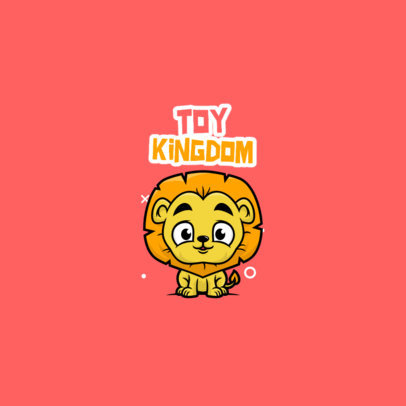 Toy Store Logo Generator Featuring a Lion Cartoon 3872e-el1