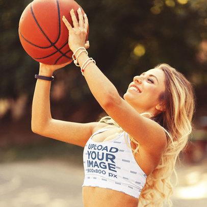 Sports Bra Mockup of a Woman Shooting a Basketball Ball m3817-r-el2