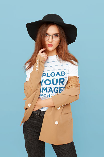 T-Shirt Mockup Featuring a Woman with a Hipster-Style Outfit 46406-r-el2