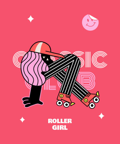 Cartoonish T-Shirt Design Maker with a Roller Skating Theme 3628c