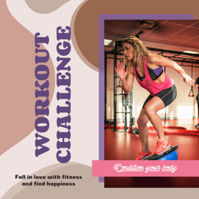 Fitness-Themed Instagram Post Maker for a Workout Challenge 3636b