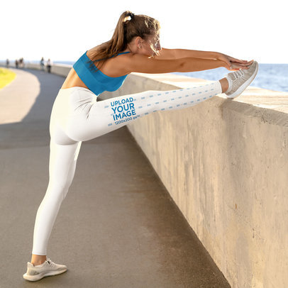 Side View Leggings Mockup Featuring a Woman Stretching Her Leg m3522-r-el2