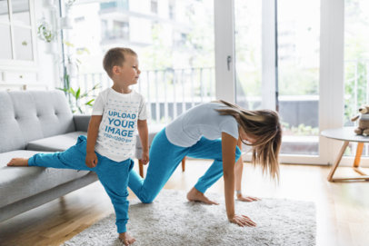 T-Shirt Mockup of a Boy Doing Yoga at Home with His Mom 44670-r-el2