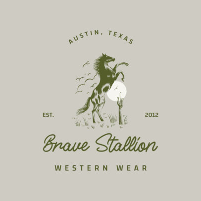 Western Clothing Brand Logo Template with a Brave Stallion Graphic  4295g