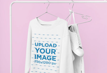 Mockup of a Sweatshirt Hanging From a Rack at Home 33976a