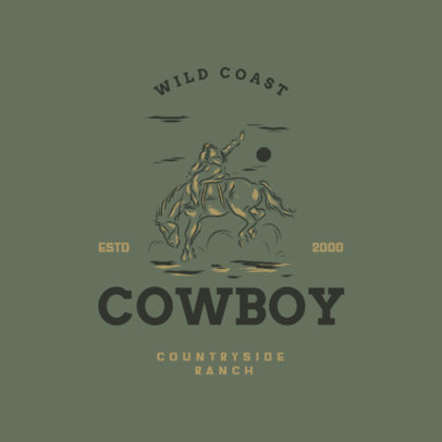 Countryside Ranch Logo Template Featuring a Cowboy at a Rodeo 4295i