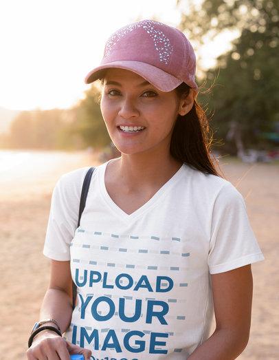 V-Neck T-Shirt Mockup of a Woman Smiling at the Beach 39978-r-el2