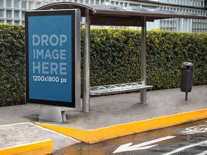 Billboard Mockup at a Bus Stop on a Rainy Day a5032
