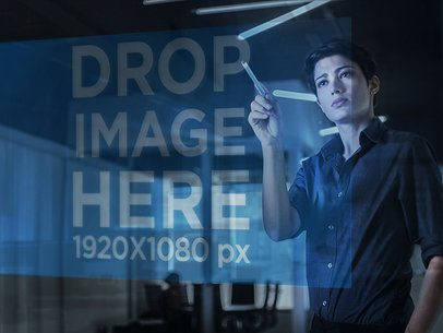 Holographic Browser Mockup of a Woman Working at an Office 7246