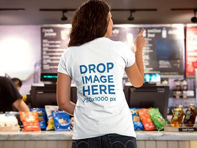 Young Lady Ordering Food at a Cafe T-Shirt Mockup a8408