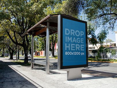 Modern Ad Mockup on a Bus Stop