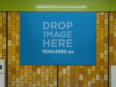 Banner Mockup Nailed to a Subway Station Wall a10473
