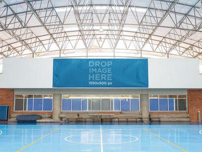 Big Horizontal Banner Mockup at a Gymnasium a10587