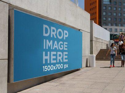 Horizontal Banner Mockup at the Entrance of a Subway Station a10673