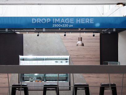 Horizontal Banner Mockup at a Coffee Bar a10838