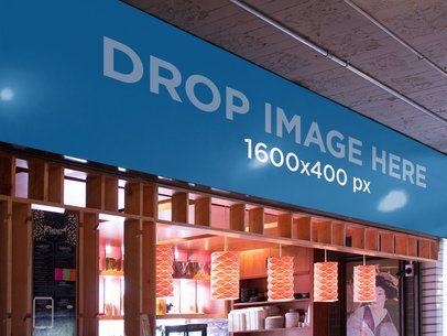 Horizontal Banner Mockup at a Japanese Restaurant a10844