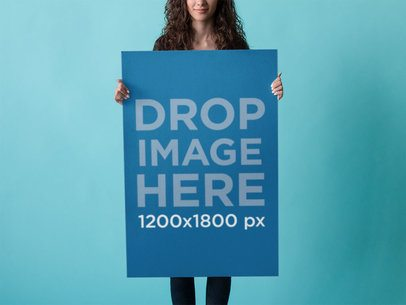 Poster Mockup of Pretty Girl Over a Blue Backdrop a10421