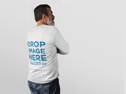 Elder Man Facing a Transparent Backdrop Wearing a Long Sleeve Tee Mockup a11310b