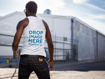 Dynamic Back Shot of a Black Man Wearing a Heather Tank Top Mockup a9529b