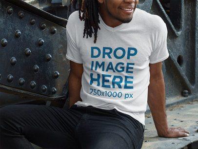 V-Neck T-Shirt Mockup of a Smiling Black Man With Dreadlocks Sitting a8755