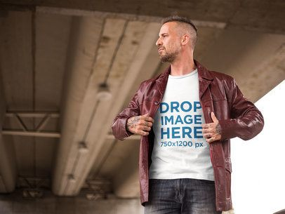 Alternative White Man Wearing a T-Shirt With a Jacket Mockup a9347